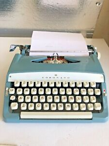 Vintage Blue Metal Coronado Brother Portable Manual Typewriter W/ Case