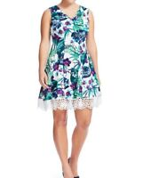 Donna Ricco Sleeveless Tropical Floral Scuba Fit And Flare Dress Size 16W