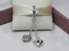New w/Box Pandora Lock and Heart Dangle Sterling Silver Charm 797642CZ
