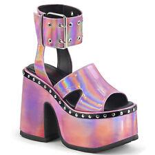 """Demonia 5"""" Mega Block Pink Hologram Platform Ankle Strap Stud Sandals Anime 6-12"""