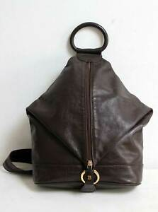 Bally Leather Backpack Shoulder Tote 3 Way Expandable Vintage Brown