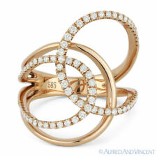 Loop Fashion Ring in 14k Rose Gold 0.48 ct Round Cut Diamond Right-Hand Overlap