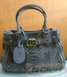BIG SALE! AUTHENTIC $2850 GUCCI Brown Python GG Running Medium Satchel Bag