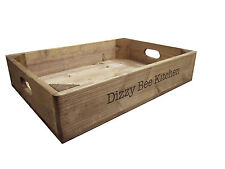 Personalised Rustic Wooden Vintage-Style Apple Crate Tray For House & Home