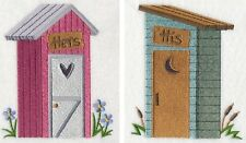 OUTHOUSES HIS AND HERS UNIQUE SET OF 2 BATH HAND TOWELS EMBROIDERED BY LAURA