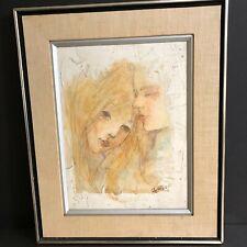Mid Century Wall Art Painting Love Theme Artist Signed Heffner Professional Fram