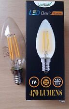 4 x 4w LED Clear Candle Filament Light Bulbs Lamp SES Small Screw In E14 40w