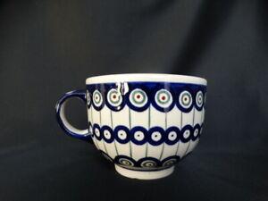 Bolesławiec Polish Pottery Large 22 Ounce Soup Mug Blue & Green Circles Red Dot