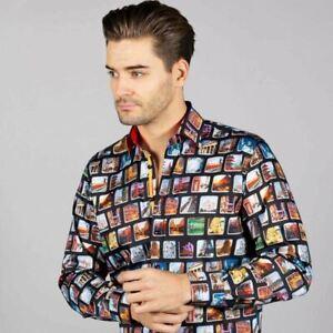 Mens Claudio Lugli Couture World Traveller Print Shirt CP6657 Black