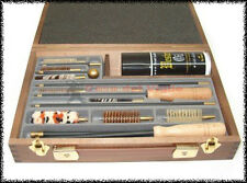 Kit completo scatola legno tris universale pulizia armi fucile pistola carabina