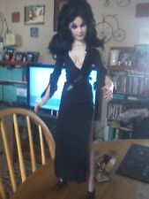 "HORROR HOST ELVIRA PLASTIC DOLL 20"" TALL HALLOWEEN PROP ZOMBIE PROP"