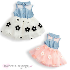 Baby Girls Flower Lace Denim Top Tutu Dress