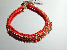 "GUESS Red-Orange Collar Necklace Crochet ""London Meets Ibiza"" Gold Chain $38"
