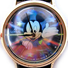 VINTAGE LORUS MICKEY MOUSE Sun Rays Stars HOLOGRAM Mens Womens Wristwatch WATCH
