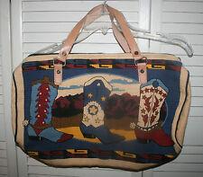 Western Multi-Color Cowboy Boots Print Canvas Zip Closure Handbag/Tote