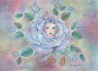 GARDEN FLOWER ROSES ART NOUVEAU FAIRY BLUE ICE FAIRY QUEEN BOTANICAL PAINTING