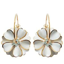 Navachi White Enamel Flower 18K GP  Crystal Hoop Earrings BH2461