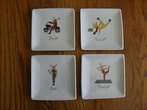 Set 4:Pottery Barn Santa's Reindeer Porcelain Square Appetizer Plates-DDPV-New