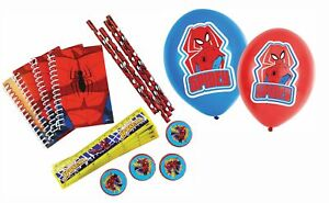 Amscan Spiderman Stationary Set (16-teilig) + Balloons (6 Pieces, Red & Blue)