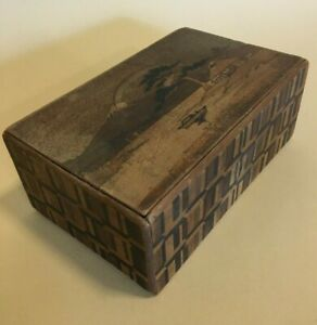 Vintage Japanese Wooden Puzzle/Secret Box - Mount Fuji/ Bird Motif
