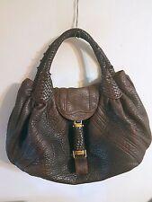 Fendi  Spy Bag Purse Tote Handbag Satchel Shoulder Tortoise Nappa Leather Large