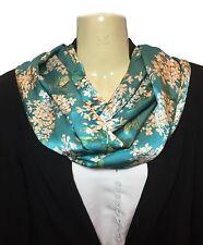 Liberty Silk Scarf Handmade Infinity Silk Satin Turquoise Archive Lilac