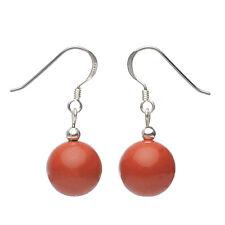 Ohrringe Ohrhänger, roter Jaspis & 925er Silber, rot-braun, Ohrschmuck Damen