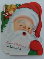 UNUSED Vtg SANTA Double Sided Merry CHRISTMAS GRANDPA A Wipco GREETING CARD