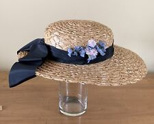 Antique Women's Straw Hat with Black Satin Ribbon, vintage Flowers