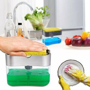 Liquid Soap Dispenser Pump & Sponge Holder Kitchen Caddy Sink Tidy Organizer #T
