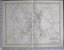 1881 LARGE ANTIQUE MAP UPPER NUBIA & ABYSSINIA HABESH TIGRE HABAB
