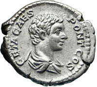 GETA sacrificing over altar 205AD Authentic Silver Ancient Roman Coin i46543