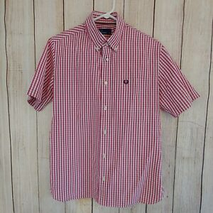 FRED PERRY Gingham Shirt Short sleeve button polo red white pewter punk medium