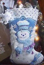Bucilla Felt Applique18 Christmas Stocking Kit Snowflake Snowman 86059
