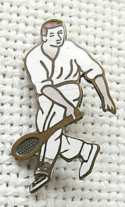 Victorian antique enamel silver sterling tennis player badge.