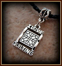 I Love Quilting Pendant Necklace Jewelry - Featherweight Vintage Antique style