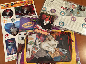 90s PBS Wishbone the Dog Lot-Clings-Book Badges-Covers-MagiCloth Playset ~NOS~