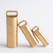 Brass Outdoor Waterproof Medicine Case Pills Box Key Ring Storage Pendant