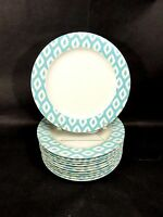 """Z. GALLERIE 10 WHITE PORCELAIN TURQUOISE 11"""" DINNER PLATES TRIBAL CHARGERS"""
