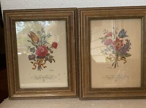 """Vintage L.F. Roubillac Floral Print Framed Set Two 8.1/8.x 10.1/4"""" Framed Tulip"""