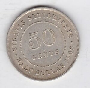 1908 STRAITS SETTLEMENTS SILVER 50 CENTS IN NEAR EXTREMELY FINE CONDITION