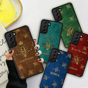 PERSONALISED BEE LEATHER Print Phone Hard Case Cover For iPhone 8 12 13 Pro Max