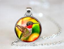 Ruby Throated Hummingbird Tibetan silver Dome Glass Art Chain Pendant Necklace