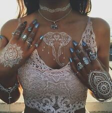 White Temporary Henna Tattoos Elephants Style Body & Hand Transfer Indian Tattoo
