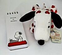 Hallmark Snoopy Plush Hearts & Graphique Snoopy & Gang Writing Memo Pad Gift Set