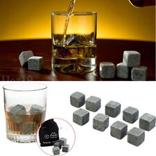 9pcs Drinks Whiskey Stones Whisky Cubes Granite & Pouch Cooler Ice Rocks Scotch