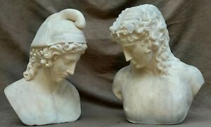 GRAND TOUR MARBLE BUSTS OF EROS DI CENTOCELLE and GANYMEDE