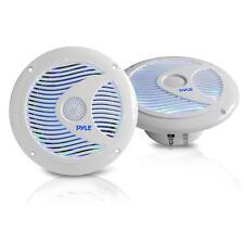 2 X 6.5'' Marine Audio Waterproof Speakers W/ Multi-Color LED Lights 150W White
