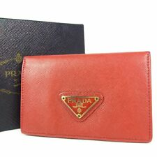 Auth PRADA Logos Saffiano Leather Card Case Holder Purse F/S 1315