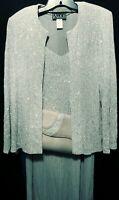 Alex Evening Sparkly Silver/Evening/Special Occasion 3Piece/Dress,Cami,Purse/12